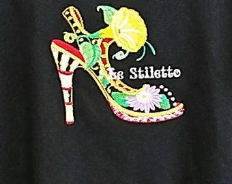 BRIGHT DECORATIVE SHOE #2 Embroidery on Tee or Sweatshirt  from Topstitch Designs by Linda
