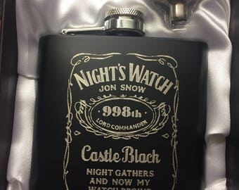 Night's Watch HIPFLASK game of thrones black Stainless Steel JON SNOW 6 oz hip flask