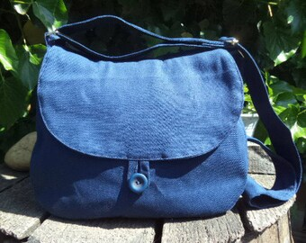 Blue canvas shoulder bag,buttoned bag