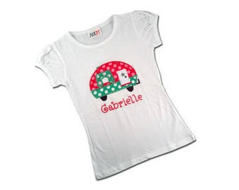 Girls Polka Dot Glamping Camper Shirt with Embroidered Name