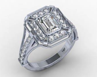 Emerald Cut Moissanite Engagement Ring 1.05ct Forever One Moissanite Ring .60ct Natural Diamonds Deco Ring 14kt Gold Pristine Custom Rings