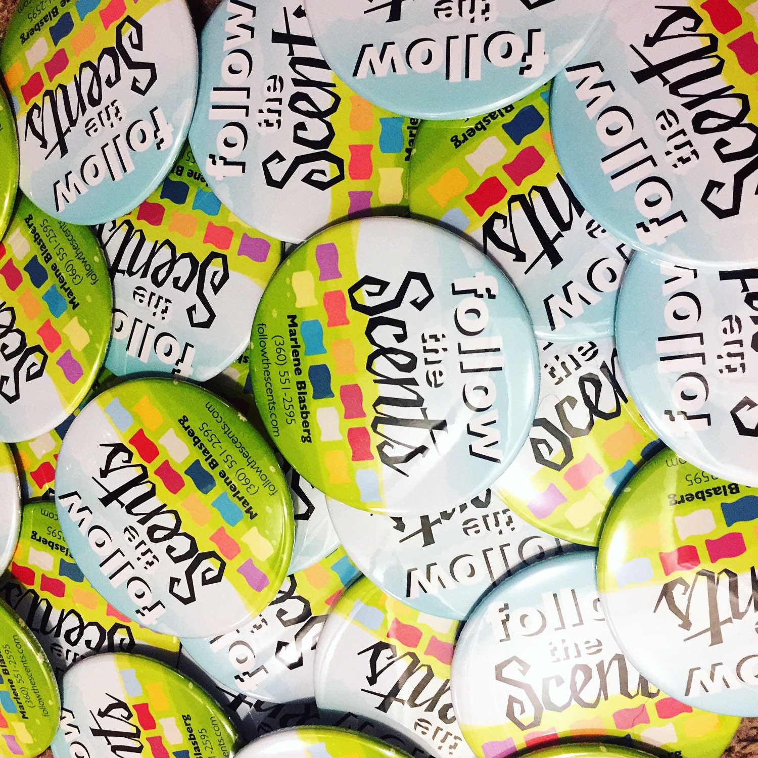 100 Custom Designed Buttons Magnets or Mirrors Personalized