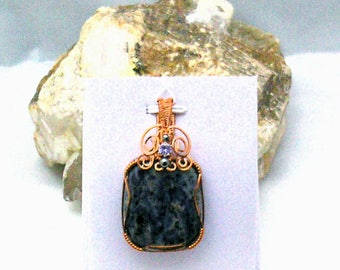 Sodalite with Tanzanite Handmade Wire Wrapped Pendant