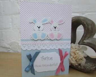 Handmade Birth Card for Twins