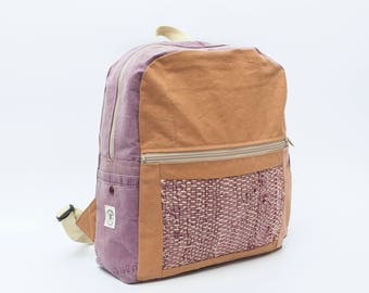 up cycled BACKPACK / RUCKSACK Pink handwoven pocket