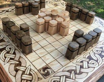 "Upgrade Item*: ""Obelisk"" wooden playing pieces, Pawns for full-size Hnefatafl Games, select by tafl variant - Handcrafted  - MADE TO ORDER"