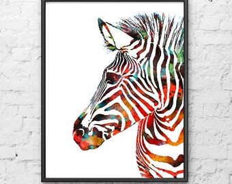 Watercolor Art Print Zebra Painting, Animal Art, Watercolor Animal Illustration, Wall Art - 437