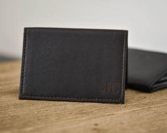 Mens Personalized Leather Wallet Card Holder Slim Minimalist Wallet Gift for Groomsmen Dad Gift