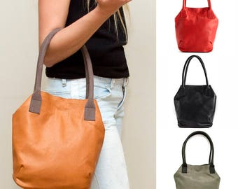 Sale!!! Small Brown Leather tote Bag Brown leather bag for Women carried in the hand or worn on the shoulder
