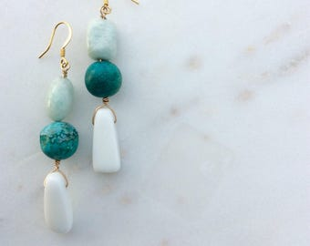 Turquoise Amazonite and White Agate Earrings