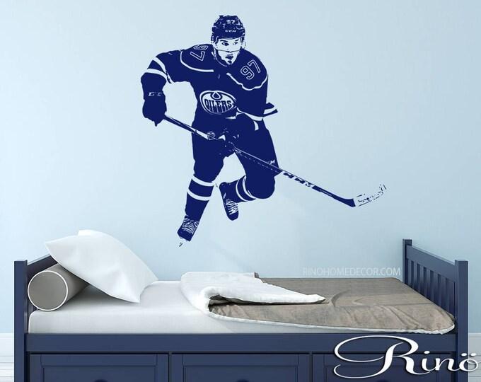 Connor McDavid Vinyl Decal - Hockey Wall Art - Hockey sticker - Hockey Decor - hockey Boy Bedroom kids playroom man cave