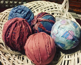 """Vintage Fabric Balls Handmade Unique 5""""x5"""" Size Variety of Colors Upon Request"""