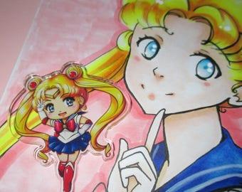Sailor Moon badge or magnet + FREE Usagi-chan print!
