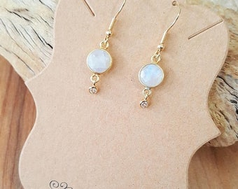 15% OFF SALE Rainbow Moonstone CZ Gold Filled Earrings / Moonstone Earrings / Dangle Earrings / Drop Earrings / Cubic Zirconia / Stone Earri