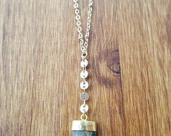 15% OFF SALE Shark Tooth Faceted Labradorite 14K Gold Filled Y Necklace / Lariat / Labradorite Lariat Necklace / Boho Jewelry / Labradorite