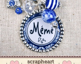 Meme Gifts, PERSONALIZED Mom Grandma Nana Noni Necklace or Bracelet, Custom Gifts for MEME, Handmade Grandmother Mother Bracelet or Keychain