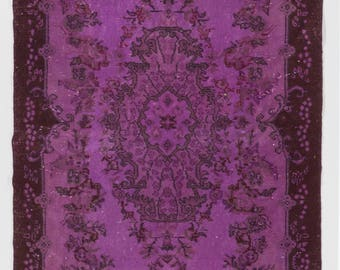 Overdyed Rug 4' x 7' (121 x 213 cm) Turkish Handmade Vintage Rug, Purple Overdyed Rug