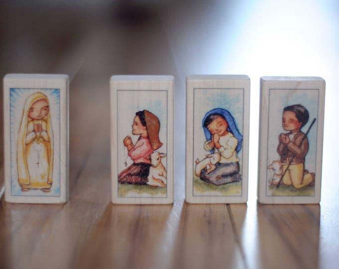 Fatima Saint Block Set - Our Lady of Fatima and the 3 Fatima Children // Saints Jacinta & Francisco, Sr Lucia