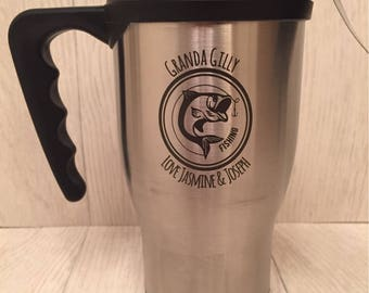 Personalised top quality thermal cup insulated cup with fishing detail fisherman gift