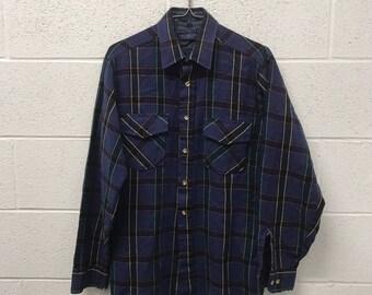 Flannel shirt etsy for Van heusen plaid shirts