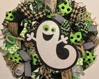 Halloween Wreath, ghost wreath, Ghost Halloween Wreath, Halloween Mesh Wreath, Halloween Door Wreath, Ghost Door Wreath, wreath Halloween
