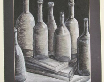 Print of Charcoal Drawing of Wine Bottles