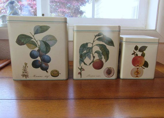 VinCenzo Botanical Fruit Canister Tins Set of Three / International Corp. 1992 Farmhouse Kitchen