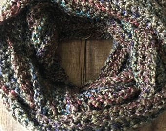 Army Green Multi Colored Infinity Scarf