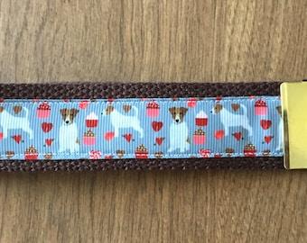 Jack Russell Terrier Key Chain Wristlet Zipper Pull