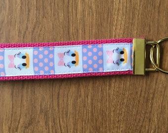 Daisy Duck Key Chain Wristlet Zipper Pull