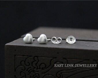925 Silver mini heart stud earrings ear pierced lobe earrings 1 pair by East Link jewellery