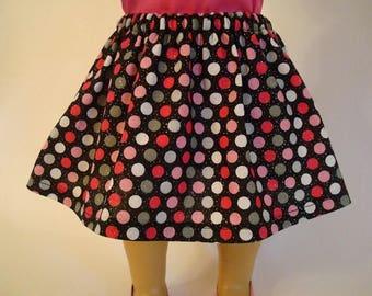 Black Polka Dot Skirt for American Girl Doll and 18-inch Dolls - Doll Pink Polka Dot Skirt