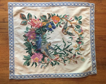 Beautiul Vintage Needlepoint Handmade Floral And Bird Fabric