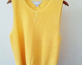 Sleeveless Knit Top / Yellow Vintage Knit Top