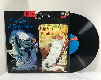 Boris Karloff Tales Of Mystery And Imagination vinyl record 1977 Legend Of Sleepy Hollow, Halloween, Headless Horseman VG+/EX