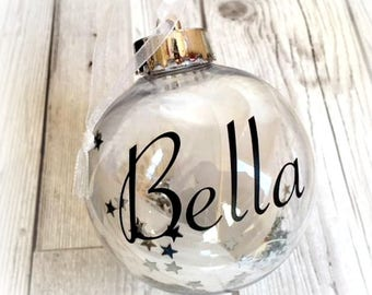 Memorial Christmas Feather Bauble | Angel Baby Christmas Tree Bauble | Heaven Bauble | Remembrance Bauble | Personalised Memorial Bauble