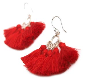 Sterling Silver Earrings Red Tassel Dangle Earrings Statement Piece Boho Gift Summer Fashion jewelry Pink Yellow Turquoise Black Tassels