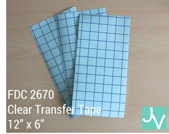 "Clear Blue Grid Transfer Tape / Transfer Paper / Application Tape FDC 2670  - 1 Sheet of 12"" x 6"""