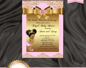 Princess Baby Shower Invitation, Little Princess, Royal Baby Shower, African American, Pink and Gold - Printable, Digital file, BSGP01