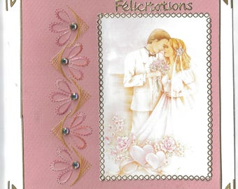 embroidered card, image married couple