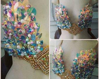 Mermaid rave bra • Festival Top • Dance Wear • Burlesque Costume • Mermaid Top