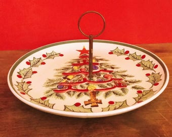 Vintage Lefton Christmas Tree Plate - Christmas Serving Dish