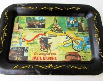 Vintage Tin Trinket Tray - The Midnight Ride of Paul Revere - Mid Century - Classic Vintage Souvenir - Black Tray - Boston Souvenir