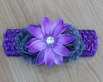 Baby Girl Headband, Shabby Headband, Flower Headband, Purple Headband, Baby Hair Accessory, Baby Headband, Infant Headband, Newborn Headband