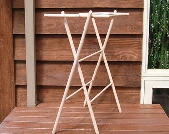 Wooden Drying Rack, Vintage Painted Drying Stand, Beige Painted Folding Rack, Folding Drying Rack, Laundry Room Drying Rack