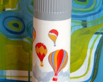 Vintage thermos, Rotpunkt Dr. Zimmermann, 0,45 liter, white with Hot air Balloons and Gray thermos flask