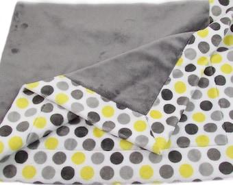 "Gray & Yellow Dots Baby Blanket - Minky Baby Blanket - Stroller Blanket - Nursery Blanket - 33"" x 42"" Baby Blanket"