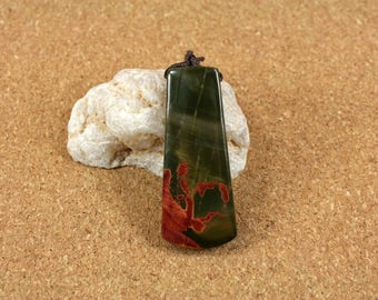 Red Creek Jasper Trapezoid Pendant -Green and Red Top Drilled Focal Bead
