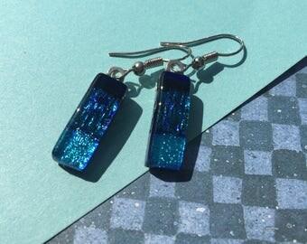 Fused Glass Earrings in Shimmery Blue