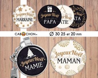 Joyeux Noël 14 • 45 Images Digitales RONDES 30 25 20 mm famille maman mamie papy papa parrain marraine sapin etoile cadeau